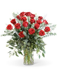 Red Roses with Eucalyptus Foliage (18) from Eagledale Florist in Indianapolis, IN