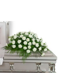 Peaceful in White Casket Spray from Eagledale Florist in Indianapolis, IN