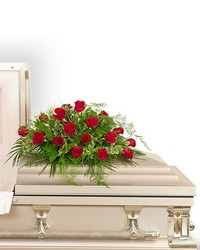 18 Red Roses Casket Spray from Eagledale Florist in Indianapolis, IN